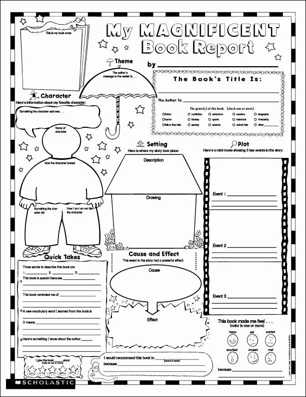 Fiction Book Report Template Fresh Printable Book Report forms for 4th Grade Reading