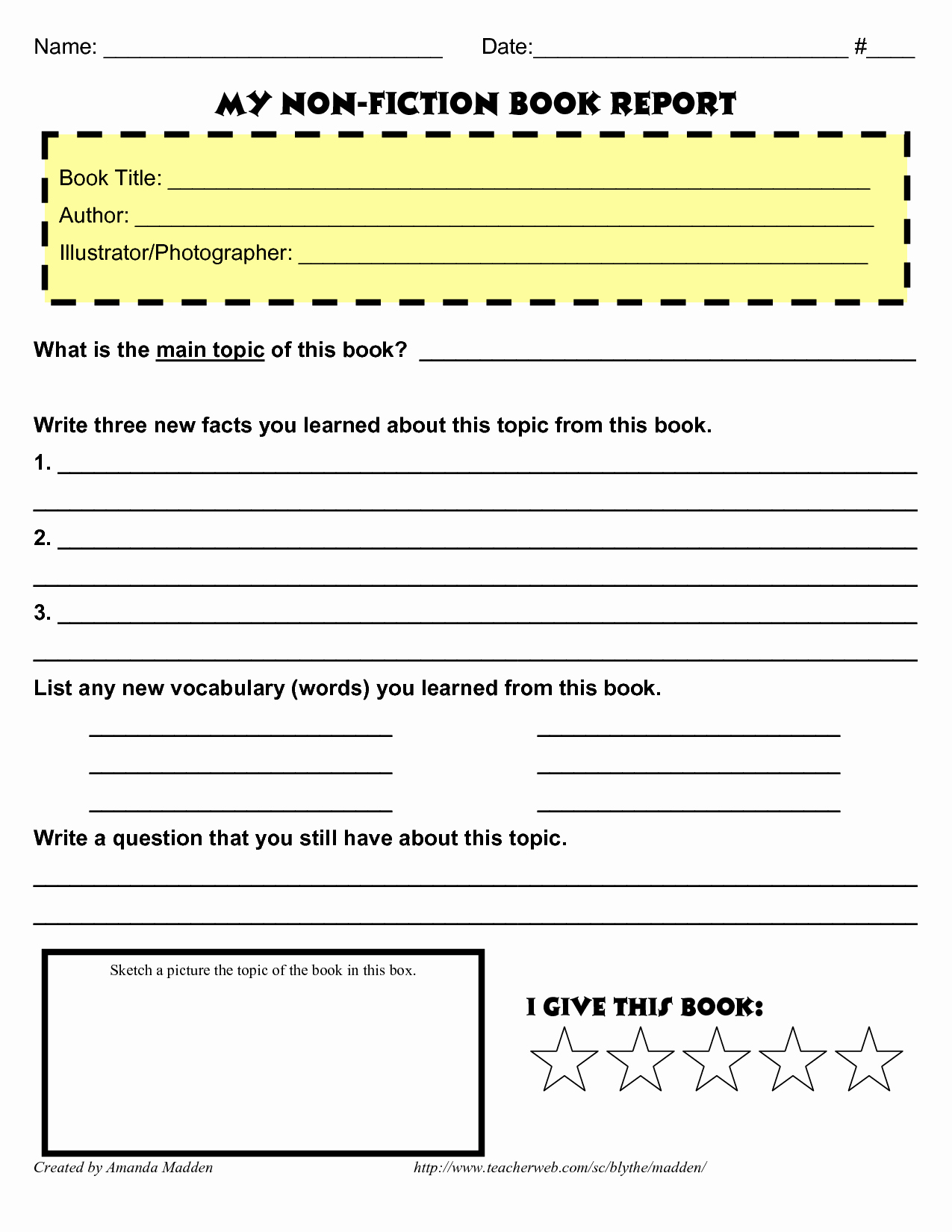 Fiction Book Report Template Lovely 9 Best Of Nonfiction Book Report forms Printable