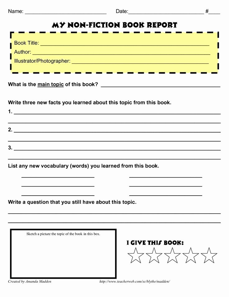 Fiction Book Report Template Luxury Image Result for Grade 4 Book Report Template Non Fiction