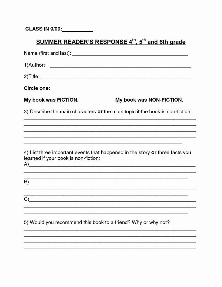 Fiction Book Report Template New Book Review Template Middle School Pdf Book Review
