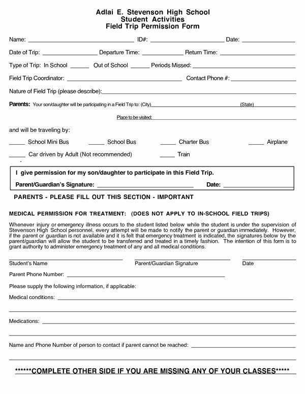 Field Trip form Template Best Of School Field Trip Permission form Sample forms