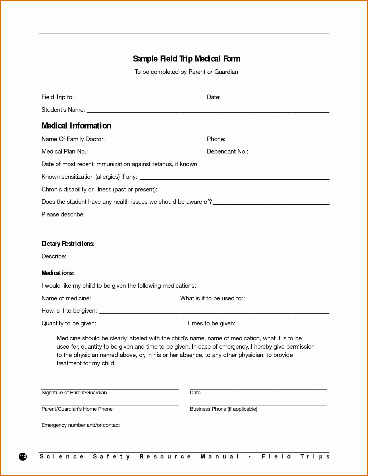 Field Trip form Template Inspirational 7 Field Trip form Template