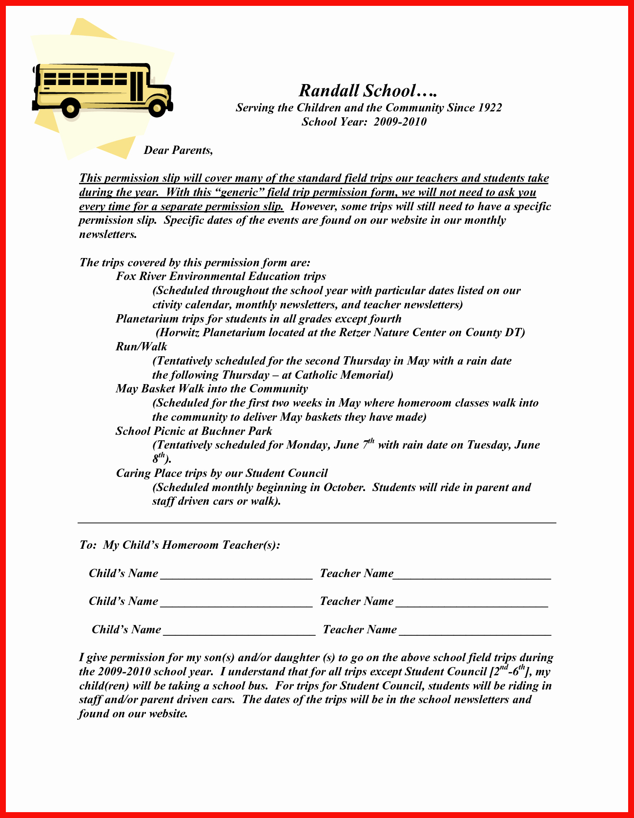 Field Trip Letter Template Elegant Field Trip Permission Slip