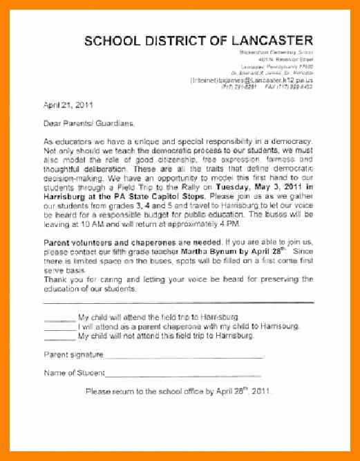 Field Trip Letter Template Inspirational Educational Field Trip Letter to Parents Template 28