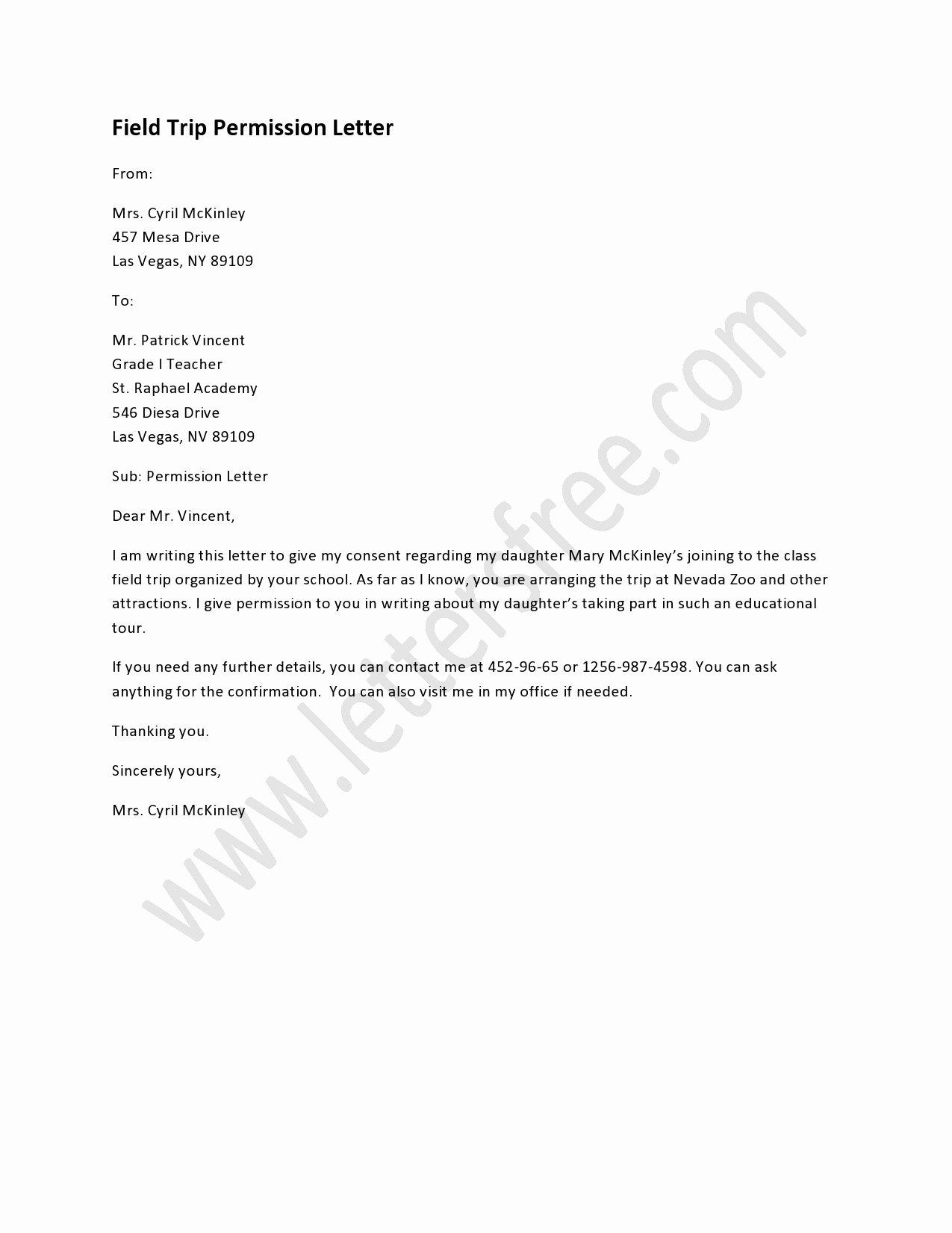 Field Trip Letter Template Luxury A Field Trip Permission Letter is Written to Permit An