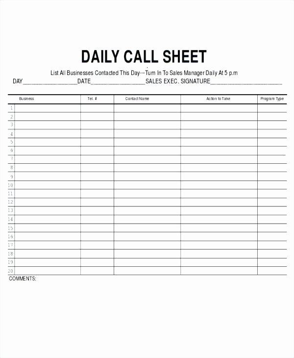 Film Call Sheet Template Beautiful Call Log Sheet Template Daily Sales Rep – Rightarrow