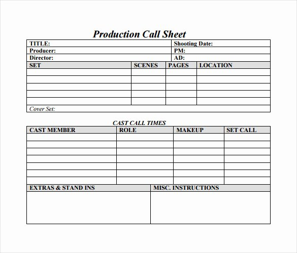 Film Call Sheet Template Elegant 12 Sample Call Sheet Template to Download