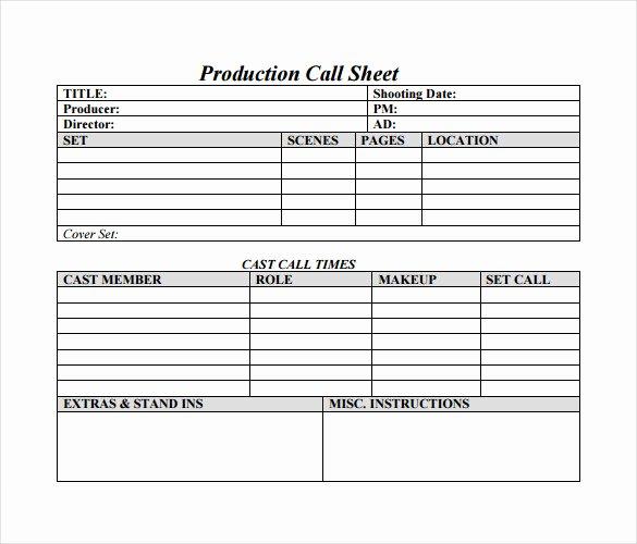 Film Call Sheet Template Elegant 12 Sample Call Sheet Template to Download