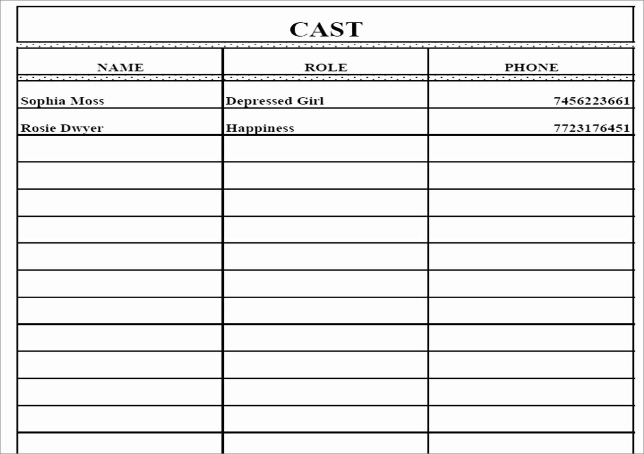 Film Call Sheet Template Inspirational Call Sheet Template