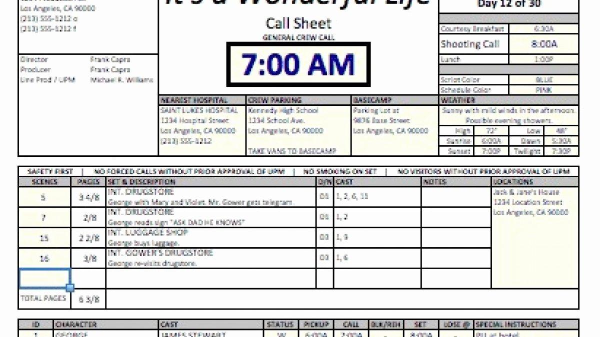 Film Call Sheet Template Inspirational Casper Spreadsheet Template Makes Call Sheets and