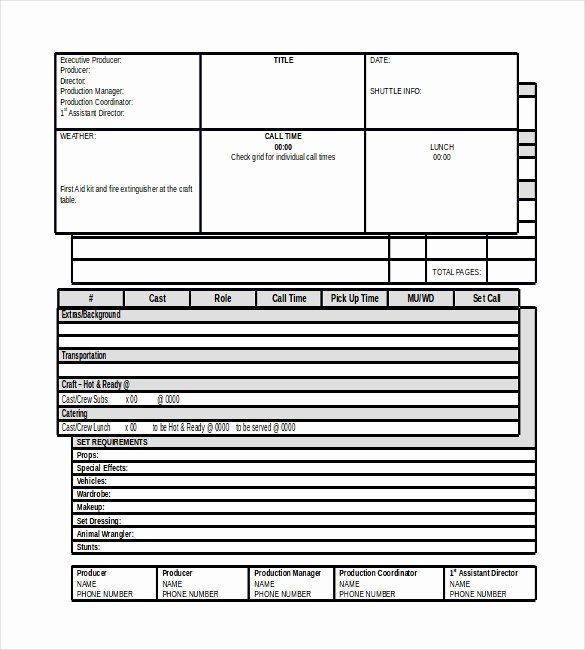 Film Call Sheet Template Inspirational Sheet Template 16 Free Word Excel Pdf Documents