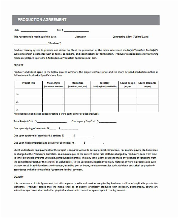 Film Producer Agreement Template Beautiful 10 Production Contract Templates Sample Example