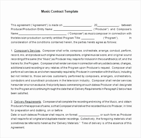 Film Producer Agreement Template Best Of Music Production Agreement Template Music Contract
