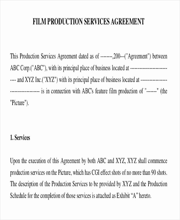 Film Producer Agreement Template Best Of Sample Production Contract Agreements 9 Examples In