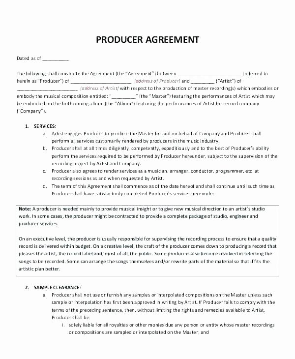 Film Producer Agreement Template Elegant Contract Template Production Contract Template S