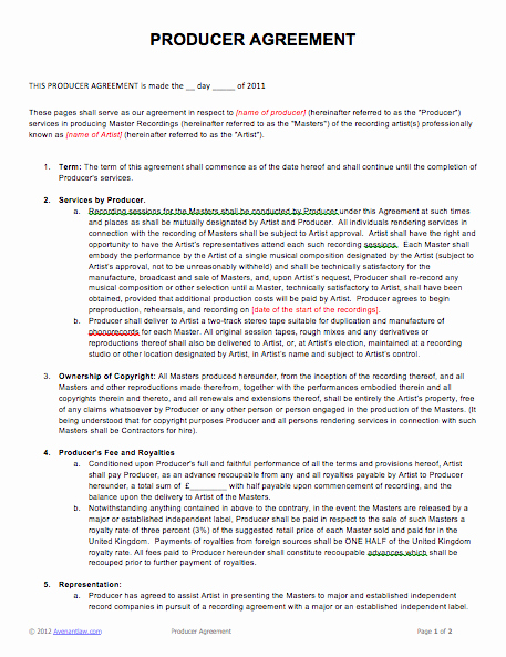 Film Producer Agreement Template Lovely Music Producer Agreement
