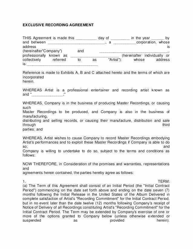 Film Producer Agreement Template Luxury Music Production Agreement Template Music Contract