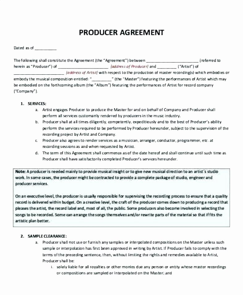Film Producer Agreement Template New Music Production Agreement Template Music Contract
