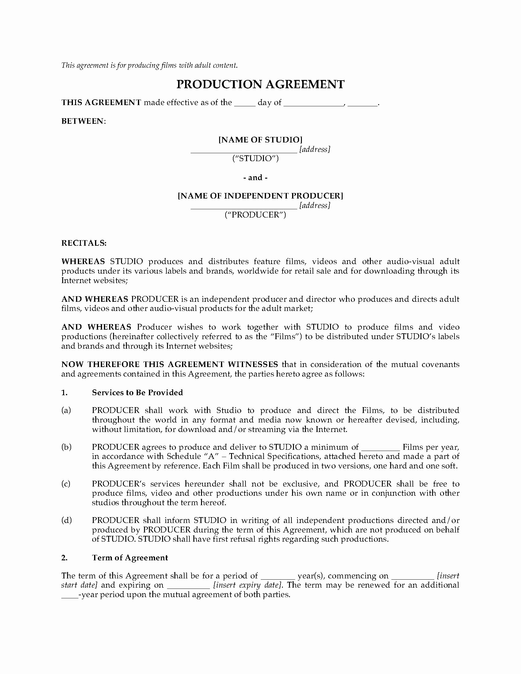 Film Producer Agreement Template Unique Adult Production Agreement