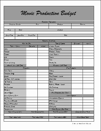 Film Production Budget Template Awesome Free Fancy Wide Row Movie Production Bud form From