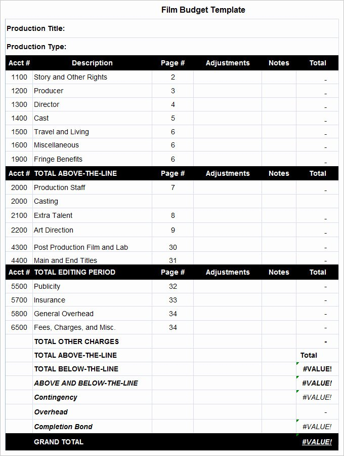 Film Production Budget Template Elegant 8 Bud Templates Word Excel Pdf