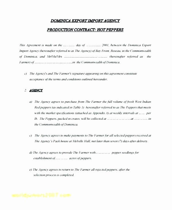 Film Production Contract Template Beautiful Production Agreement Contract Template Music Producer