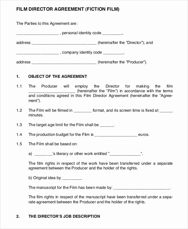 Film Production Contract Template Best Of 9 Director Agreement Templates Free Sample Example