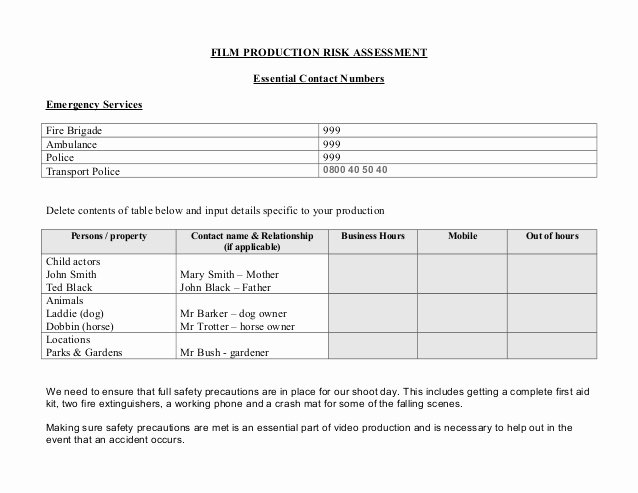 Film Production Contract Template Best Of Production Risk assessment form Template