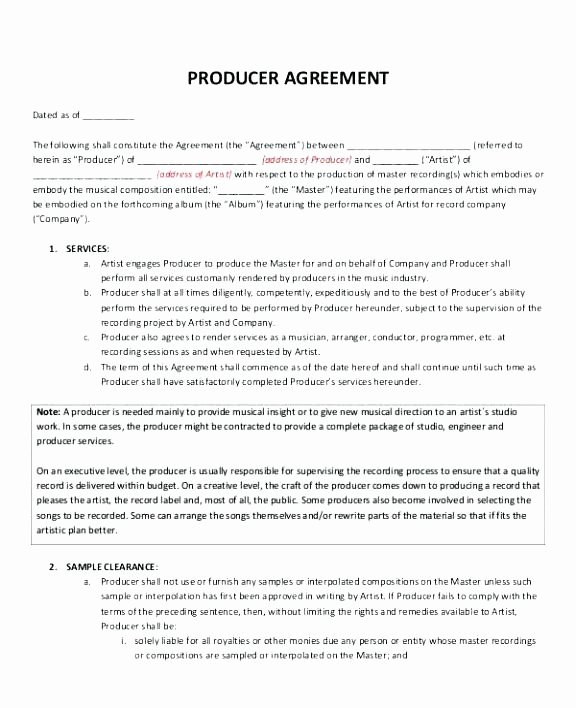Film Production Contract Template Elegant Production Contract Template Resume Ideas Record