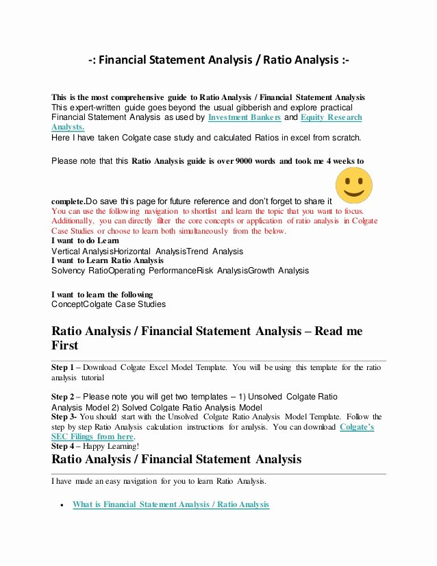 Financial Analysis Excel Template Lovely Financial Statement Analysis Ratio Analysis