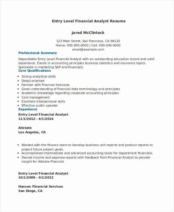Financial Analyst Resume Template Awesome Financial Analyst Resume 10 Pdf Word Documents