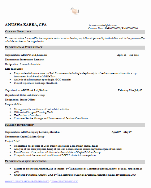 Financial Analyst Resume Template Awesome Over Cv and Resume Samples with Free Download