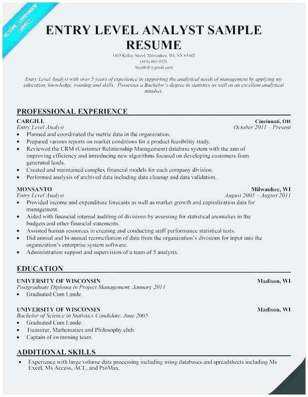 Financial Analyst Resume Template Best Of Entry Level Investment Banking Resume Talktomartyb