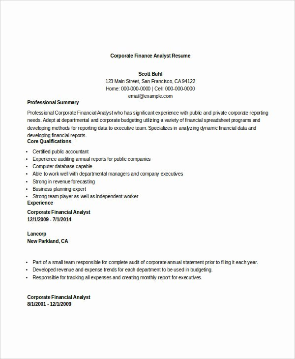 Financial Analyst Resume Template Elegant 28 Finance Resume Templates Pdf Doc