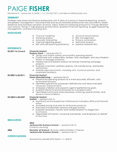 Financial Analyst Resume Template Elegant Best Financial Analyst Resume Example