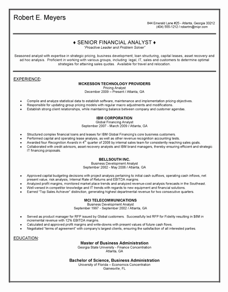 Financial Analyst Resume Template Fresh Senior Financial Analyst Resume