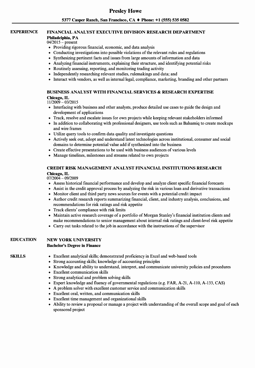 Financial Analyst Resume Template Inspirational Research Financial Analyst Resume Samples