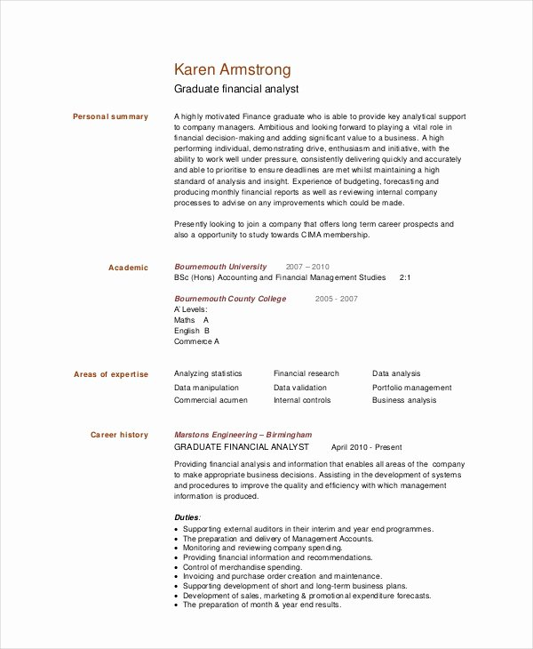 Financial Analyst Resume Template Lovely Financial Analyst Resume 10 Pdf Word Documents
