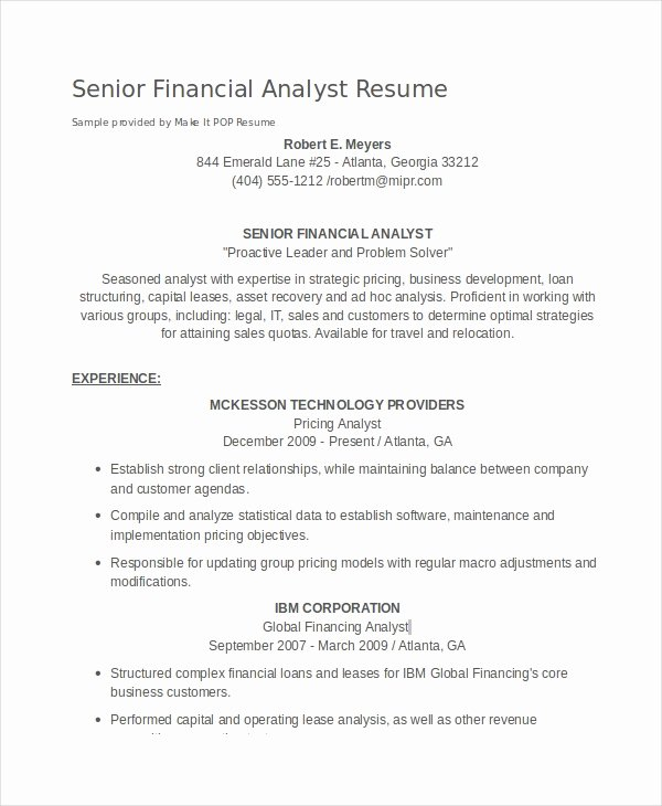 Financial Analyst Resume Template Luxury Financial Analyst Resume 10 Pdf Word Documents