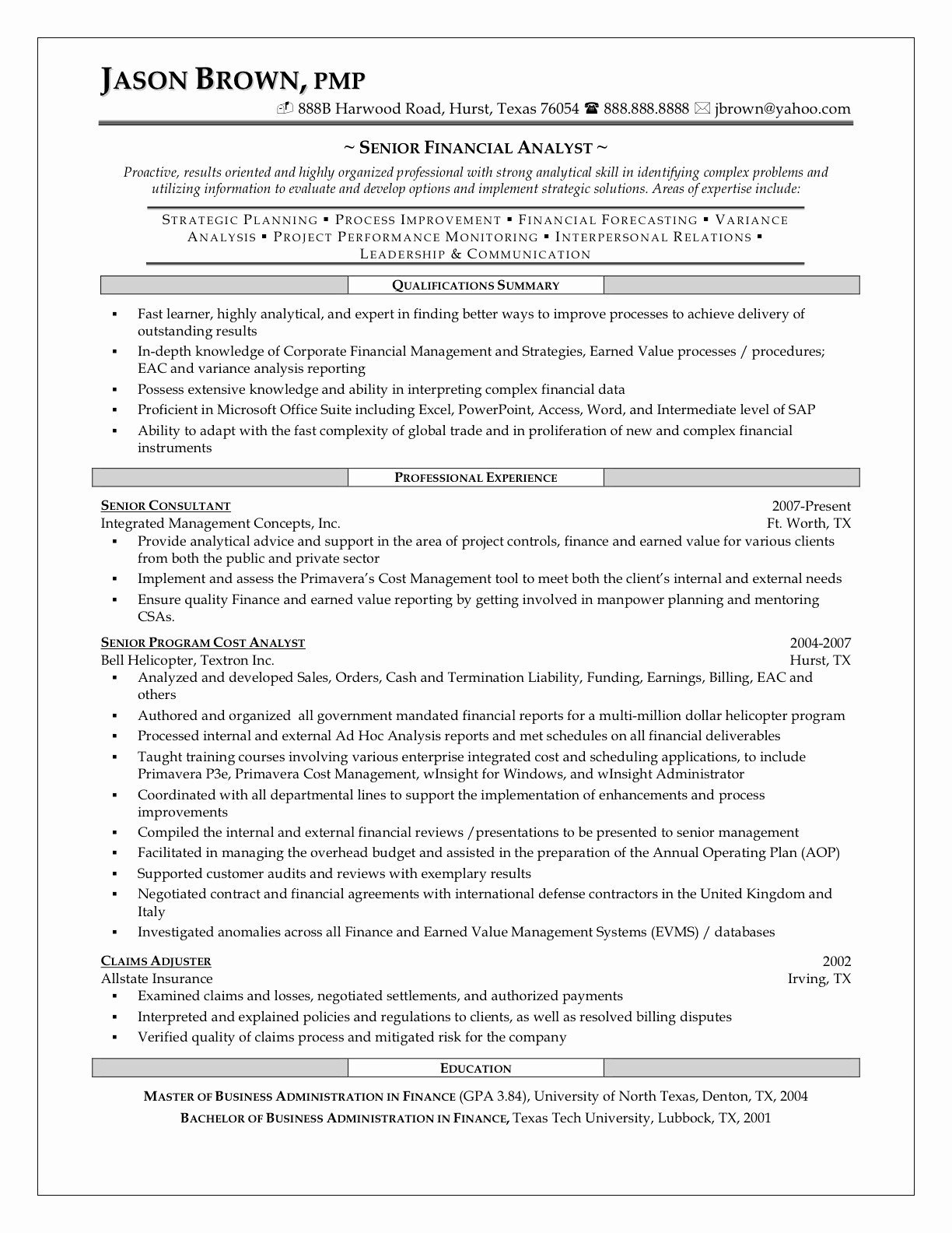 Financial Analyst Resume Template New Best Financial Analyst Job Resume Sample