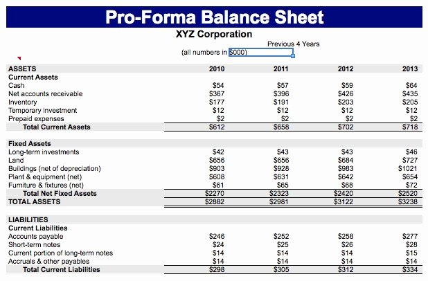 Financial Pro forma Template Elegant Download Free Balance Sheet Templates In Excel Excel