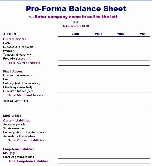 Financial Pro forma Template Fresh Proforma Balance Sheet Template