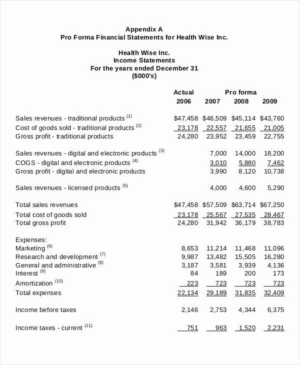 Financial Pro forma Template Lovely In E Statement Template 9 Free Excel Pdf Documents
