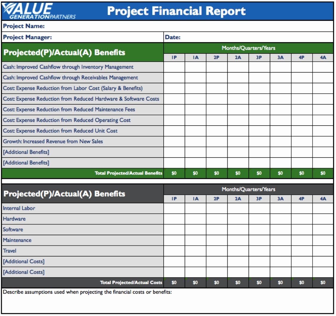 Financial Report Template Word Luxury Rod Baxter – Value Generation Partners Vblog