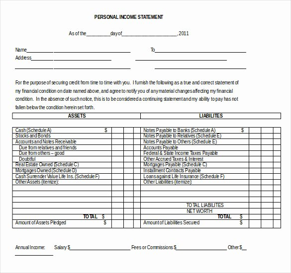 Financial Statement Effects Template Elegant Personal In E Statement format