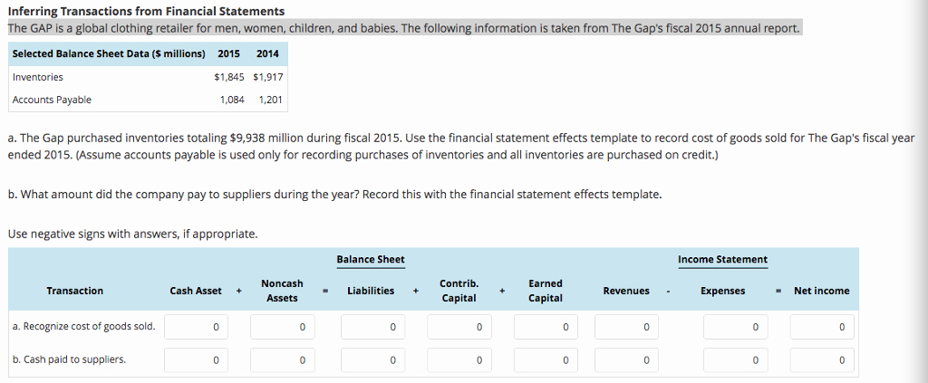 Financial Statement Effects Template Inspirational solved Inferring Transactions From Financial Statements T