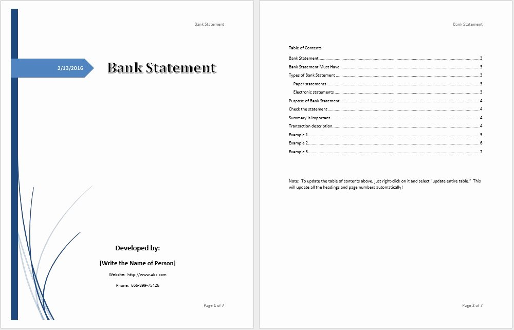 Financial Statement Template Word Best Of Bank Statement Template – Microsoft Word Templates