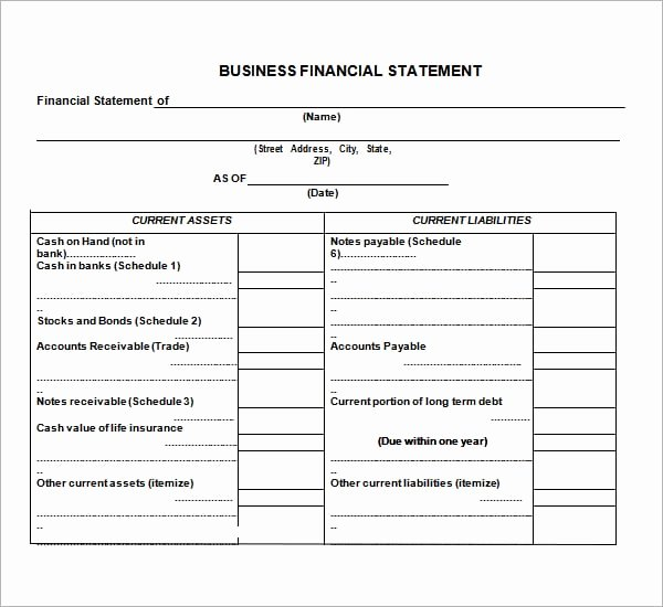 Financial Statement Template Word Luxury 8 Free Financial Statement Templates Word Excel Sheet Pdf