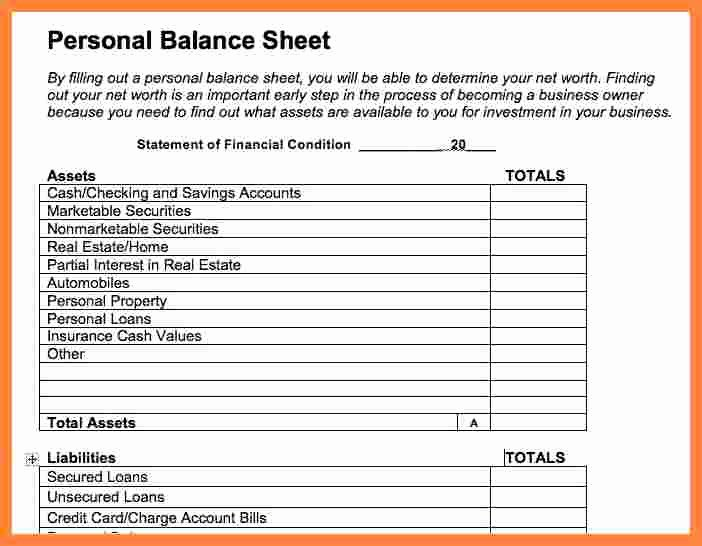 6 personal financial statement template word
