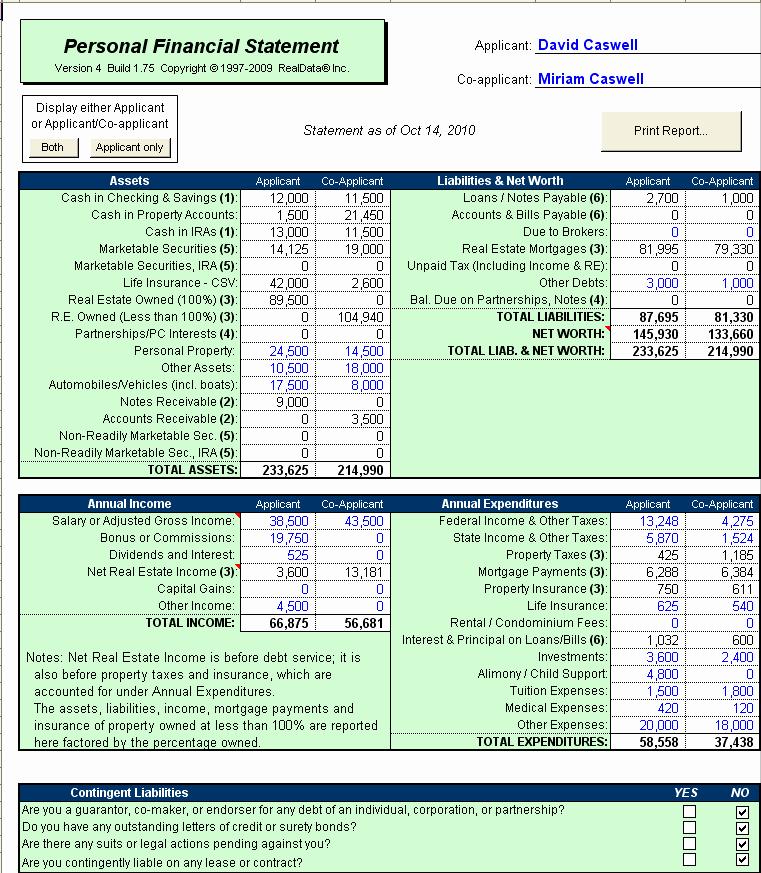 Financial Statement Template Xls Lovely Sba Personal Financial Statement Excel Template Small
